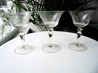 Set of 3 Clear Etched Cordial Glasses Seneca? c 1960's