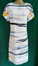 REISS UK 12 White Blue Yellow ALBA V-Back Knee Length Light Tunic Shift Dress
