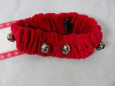 Harry Barker Dog Scrunchy Collar SMALL Jingle Bell Collar  Red Velvet ~ NWT