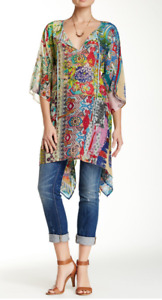 Johnny Was L XL XXL Dreamy Tie Neck Floral Print Tunic Multi Color  ALTERED