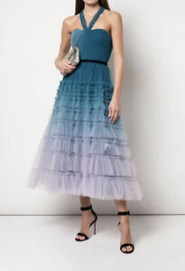 Marchesa Notte Ombre Tulle Ruffled Princess Tiered Gown 12 $1502