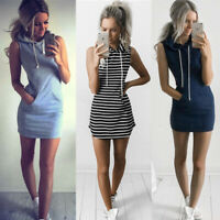 Women Striped Hoodies Sleeveless Short Casual Mini Dress Tank T Shirt Sundress
