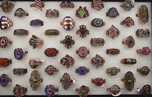 Wholesale lots 10pcs Rhinestone Multiple colors Retro fascinating rings L233