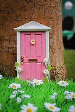 Pink Tooth Fairy Door wooden handpainted miniature magical fairy dust key