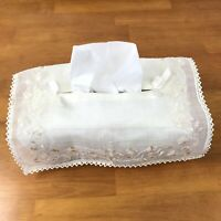 Handmade Ivory White Tissue Box Cover Vintage Embroidered Handkerchief Frilly