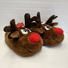Rudolph The Red Nosed Reindeer Deer Slippers Fuzzy Women's M Size 7-8 Christmas