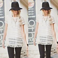 Womens Little Grils Outfit Lace Tassels Blouse Short Sleeve Shirt + Vest Tops
