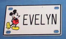 Vintage Walt Disney Prod. Mickey Mouse Evelyn Plastic Name License Plate
