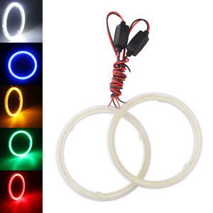 2Pcs Car COB LED Halo Rings Angel Eyes Led Headlight Fog Lamp with Cover 12V 24V