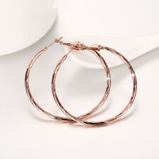 18k Rose Gold Filled Pattern High Polished Big Hoop Circle Earrings Fashion JEWE