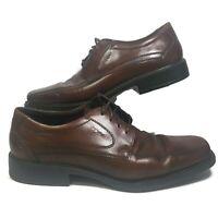 Ecco Helsinki Mens US 12 EUR 46 Oxford Dress Shoes Brown Leather Bike Toe