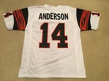 UNSIGNED CUSTOM Sewn Stitched Ken Anderson White a Jersey - Extra Large