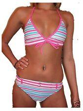 Femmes Maillots de bain Sélectionner à rayures rose Bikini triangle Haut Slip Taille UK 10