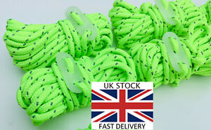 HI VIS REFLECTIVE 4M GREEN Guy Line Ropes GLOW IN THE DARK RUNNERS Tent Camping