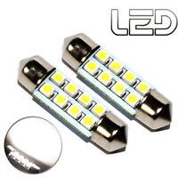 2 Ampoules navette c10w 41 mm 41mm 8 LED Blanc Habitacle Plafonnier coffre boite