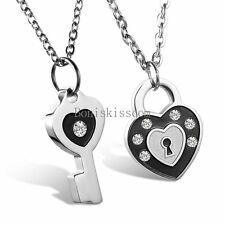 His and Hers Stainless Steel Black Silver Heart Lock Key Couple Pendant Necklace
