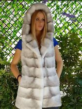 REAL MINK FUR VEST BLACK WHITE MEXA NERZMANTEL FOX SABLE CHINCHILLA 385