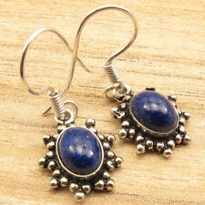 Gem Earrings 3.3 Cm, 3.6 Grams Handmade 925 Silver Plated High End Lapis Lazuli