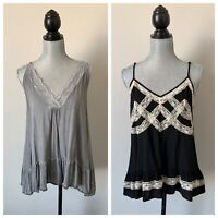 Two boutique brand ruffled lace tank tops size small Black & Gray Romantic Boho