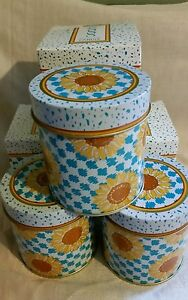 Avon sun flower tin  lot of 3 empty for decorating or storage