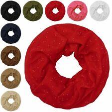 leichter Loop-Schal mit Glitzer Schlauchschal Halstuch Viskose weiß schwarz rot