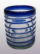 Mexican Glassware - Cobalt Blue Spiral tumblers (set of 6)