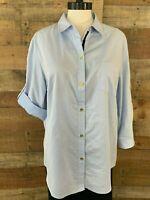 JONES NEW YORK Women's XL Plus Light-Blue 3/4-Sleeve Button-Blouse Shirt NWOT