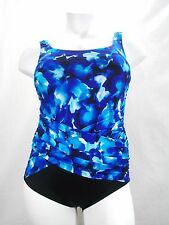 Longitude Key Largo Crossover Wrap Tummy Control One Piece Swimsuit 18W Blue