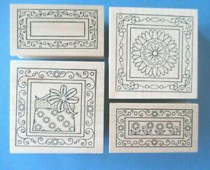 Outlines FLOWER & GIFT SQUARES Rubber Stamps FLOWER & LEAF RECTANGLES