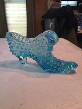 Blue Glass Daisy Button Pattern Slipper Shoe Figurine