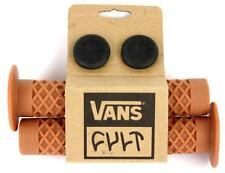 Cult X Vans FLANGED BMX Bike Grips w/ End Plugs Waffle Pattern 143mm GUM RUBBER