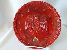 Vintage Fenton Red Slag Glass Bicentennial Daniel Webster Plate Eagle