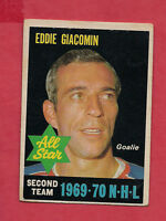 1970-71 OPC  # 244 RANGERS ED GIACOMIN ALL STAR GOALIE  CARD