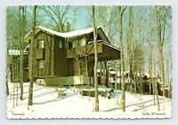 Mount Telemark Snowy Valhalia Townhouses in Winter Cable WI Vintage Postcard