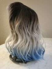 NOBLE Blue Wig with Bangs Short Curly Wigs Natural Wave Hair Wig