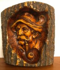 "Vintage Hand Carved Wax Sculpture Art Beard Man Pipe Tree Trunk Figure 10"" x 10"""
