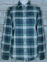 J CREW Boy Shirt Womens Flannel Long Sleeve Button Up Plaid Blouse Green Blue 2
