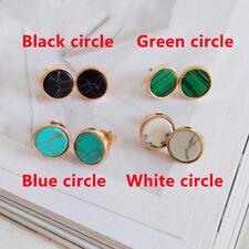Women 1Pair Geometric Round Triangle Marble Pattern Earrings Ear Stud Gift