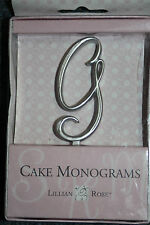 "Letter G Silver 2 1/2"" Monogram 25th Anniversary Wedding Cake Topper Pick"
