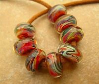 5FISH ~ Handmade Lampwork Borosilicate Glass Set Spacer Beads ~ CoLoR FesT