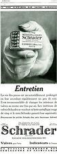 Publicité ancienne valves pour pneus Schrader 1928 issue de magazine