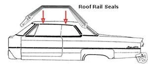 1969 1970 Cadillac Roof Rail Seals Pair - 2 DR HT