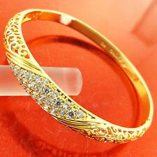 FSA253 GENUINE REAL 18K YELLOW G/F GOLD DIAMOND SIMULATED CUFF BANGLE BRACELET