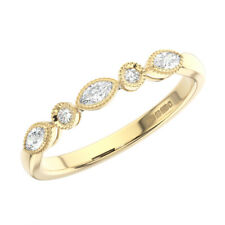0.20 Ct Round & Marquise Cut Diamonds Half Eternity Wedding Ring 18K Yellow Gold