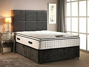 Divan Bed Charcoal Chenille with High Pillow top mattress Kingsize (5FT)