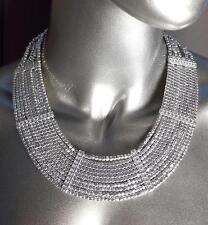 GORGEOUS Chunky Silver Metal Beads Bib Collar Drape Necklace Earrings Set