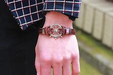 Wholesale Multilayer Genuine Leather Cuff Wristband Anchor Bangle Bracelet Gift