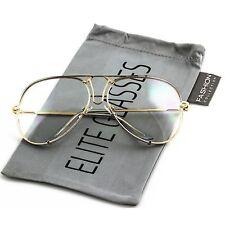 Aviator Sunglasses VINTAGE Clear Lens Men Women Fashion Style Retro Frame NEW