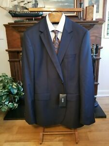 "HUGO BOSS 46 L solid navy ""The James4"" 100% wool blazer $495 sport coat"