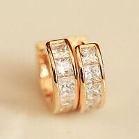 2Pc Fashion Women Crystal Stainless Steel Hoop Ear Stud Huggies Earrings Jewelry